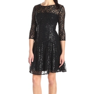S.L. Fashions NEW Black Women's Size 12 Lace and Sequin Flare Dress