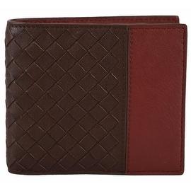 NEW Bottega Veneta 193642 Brown Rust Colorblock Woven Leather Bifold Wallet
