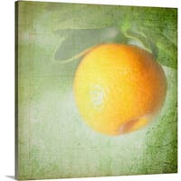 Premium Thick-Wrap Canvas entitled Miniature orange fruit with textured background. - Multi-color