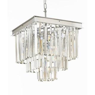 Retro Palladium Crystal Glass Fringe 3 Tier Chandelier Silver Chrome