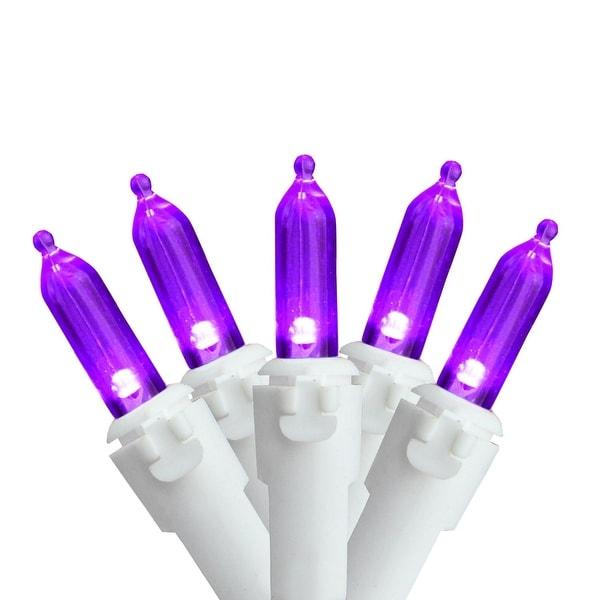 "Set of 50 Purple LED Mini Christmas Lights 4"" Spacing - White Wire"