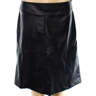 Alfani NEW Black Women's Size 8 A-Line Faux-Leather Seamed Solid Skirt