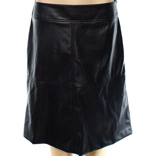 Alfani NEW Black Women's Size 8 Faux-Leather Seamed A-Line Skirt