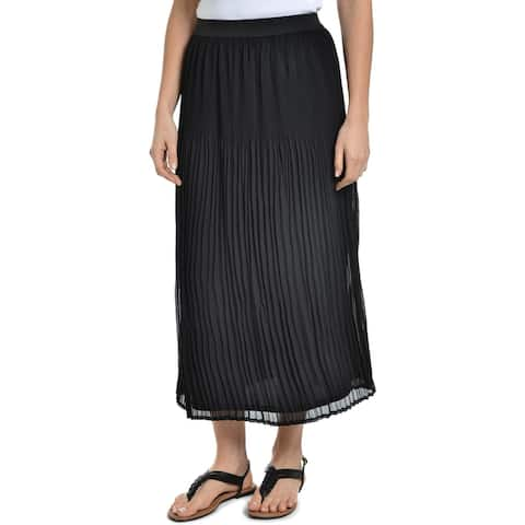 NY Collection Womens Midi Skirt Pleated A-line - L