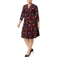 Anne Klein Womens Plus Midi Dress Printed Pattern