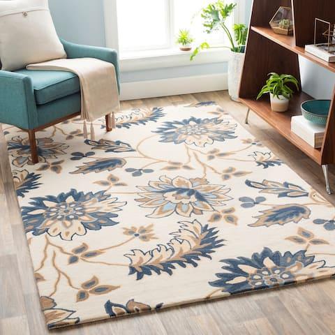 Athanas Floral Wool Area Rug