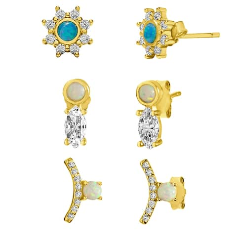 TwoBirch 18k Yellow Gold over Sterling Silver Cubic Zirconia Earring Trio Set (Three Pairs of Earrings)