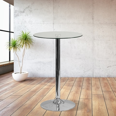 """23.75"""" Round Glass Table with 41.75""""H Chrome Base - Event and Cocktail Table"""