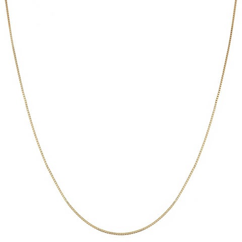 Mcs Jewelry Inc 14 KARAT YELLOW GOLD BOX CHAIN NECKLACE (.45mm) THIN AND STRONG