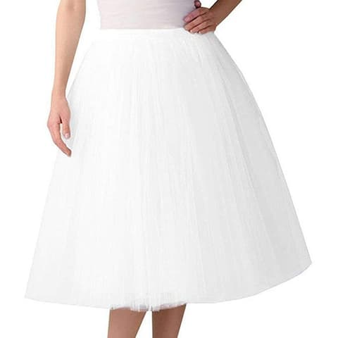 Women's Vintage Mesh A Line Knee Length Midi Tutu Tulle Skirts