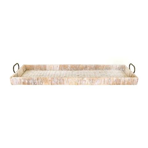 Oversize Decorative Tan Rattan Tray with Metal Handles