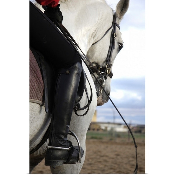 """""""Person on horseback with foot in stirrup"""" Poster Print"""