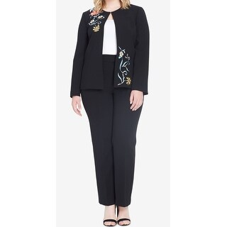 Tahari By ASL NEW Black Womens Size 18W Plus Embroidered Pant Suit Set