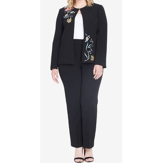 Tahari By ASL NEW Black Womens Size 24W Plus Embroidered Pant Suit Set
