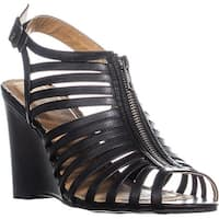 Rampage Caligo Wedge Ankle Strap Sandals, Black Smooth - 9 us