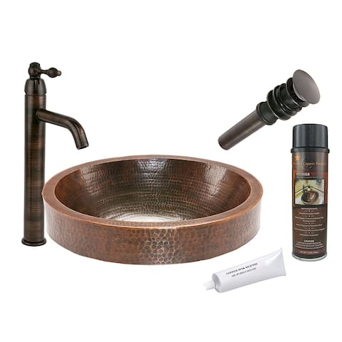 Premier Copper Products BSP1_VO18SKDB Vessel Sink, Faucet and Accessories Package