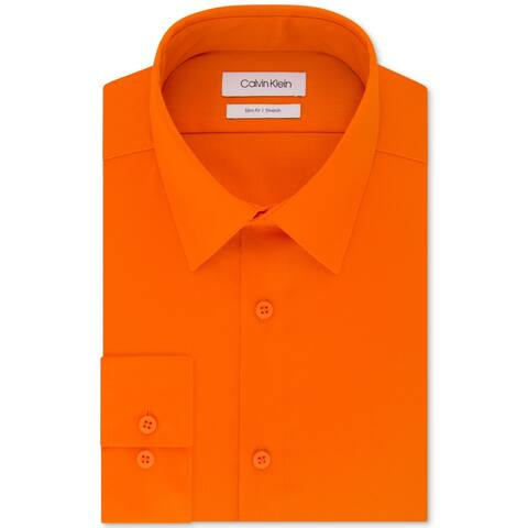 Calvin Klein Mens Dress Shirt Sunset Orange Size XL Slim Fit Stretch