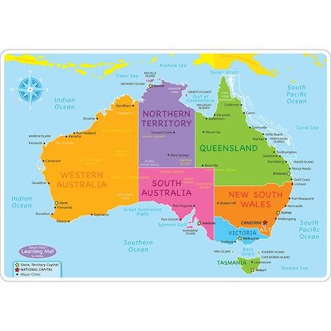 Australian Map Learning Mat 2 Sided Write On Wipe Off