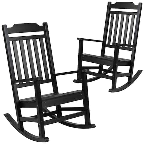 Offex Set of 2 Winston Faux Wood All-Weather Rocking Chair - Black