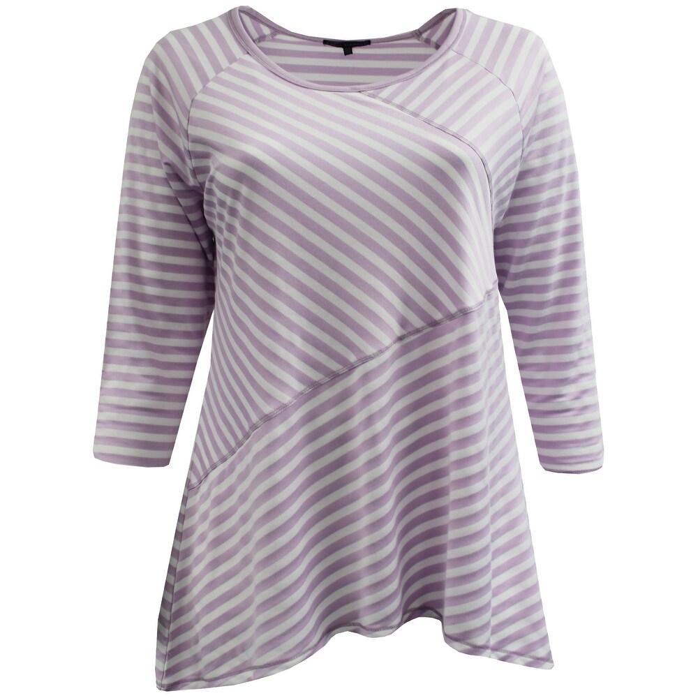 Women - Plus Size Asymmetrically Striped Design Fashion Blouse T-Shirt Knit Top Light Purple