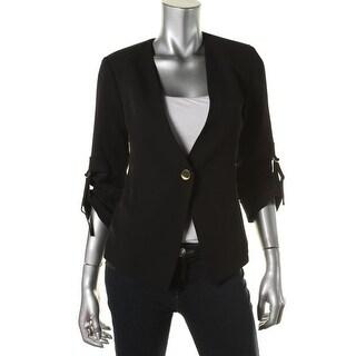 Calvin Klein Womens Buckle Adjustable Sleeves One-Button Blazer