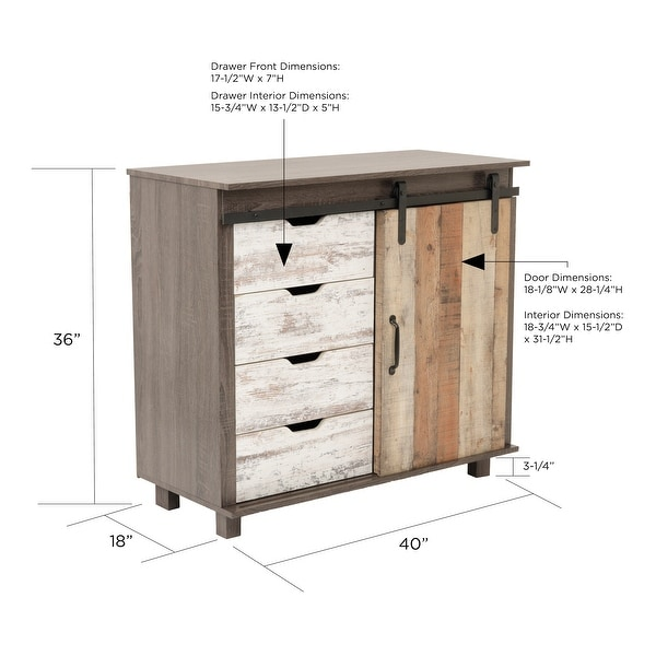 OS Home and Office Model 41001 Orden Four Drawer Cabinet with Sliding Barn Style Door - 52 x 63