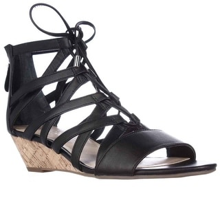 Franco Sarto Brixie Lace-up Wedge Sandals - Black