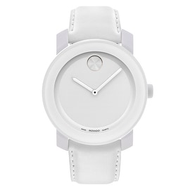 Movado Women's 'Bold' 3600024 TR90 Composite White Leather Strap Watch