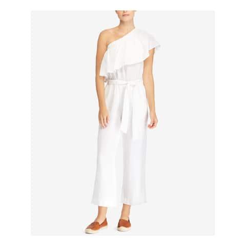 RALPH LAUREN Womens White Ruffled Overlay One Shoulder Asymmetrical Neckline Jumpsuit Size: 0