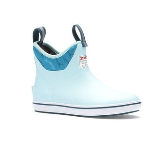 Xtratuf Women's Salmon Sisters Light Blue Fish Print Size 5 Ankle Deck Boots