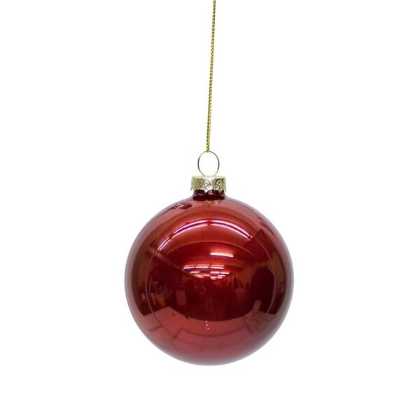 """Club Pack of 24 Shiny Ruby Red Glass Christmas Ball Ornaments 3"""""""