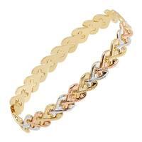 Eternity Gold Three-Tone Heart Link Chain Bracelet in 14K Gold