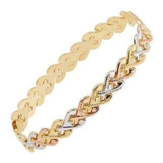 Just Gold Three-Tone Heart Link Chain Bracelet in 14K Gold|https://ak1.ostkcdn.com/images/products/is/images/direct/f4b94a9e1595303f5c70bd97862b020cd5d2b11b/Just-Gold-Three-Tone-Heart-Link-Chain-Bracelet-in-14K-Gold.jpg?impolicy=medium
