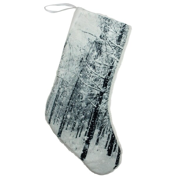 "18"" Serene Woodland During Snowfall Christmas Stocking"