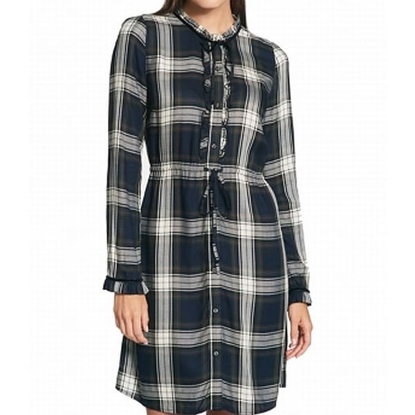 c886b957 Shop Tommy Hilfiger Blue Women's Size 8 Plaid Button Down Shirt Dress -  Free Shipping On Orders Over $45 - Overstock - 27082432