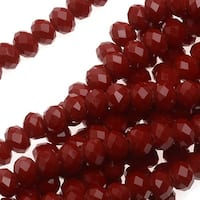 Simulated Ruby Glass Beads, 3x4mm Faceted Rondelles, 18.5 Inch Strand, Ruby Red
