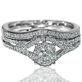 Bridal Wedding set Real diamonds 10K White gold .45cttw Vintage inspired pave 2pc