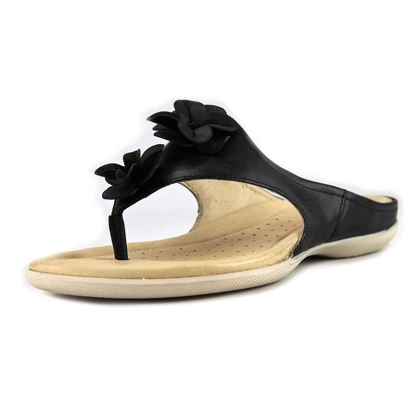 Ecco Flash Women Open Toe Leather Black Slides Sandal