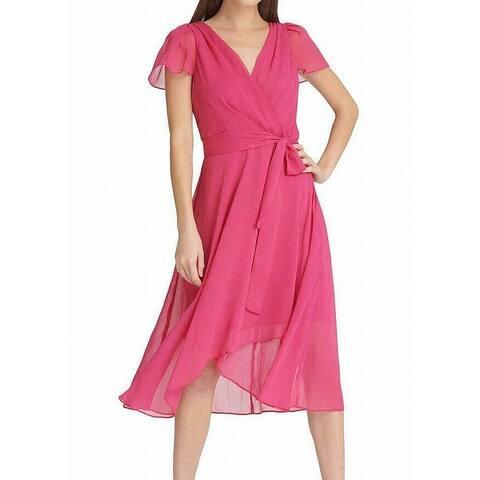 DKNY Women's Dress Fuschia Pink Size 2 Maxi Faux Wrap Belted Midi