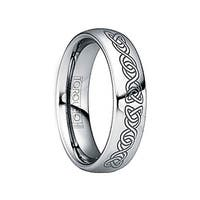 IUNIUS Polished Tungsten Comfort Fit Ring with Black Engraved Celtic Pattern by Crown Ring