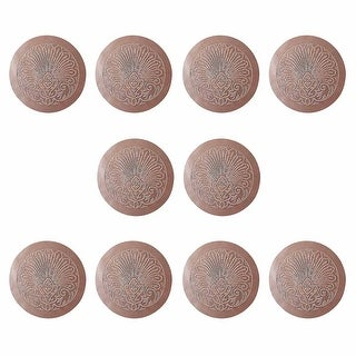 10 Chair Seats Tan Leather Round 12 Dia Embossed Set of 10 Renovator's Supply