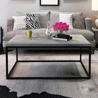 Gymax Modern Rectangular Cocktail Coffee Table Metal Frame Living Room Furniture - black and cement