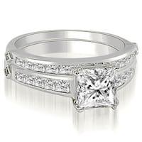 1.95 cttw. 14K White Gold Channel Set Princess Cut Diamond Bridal Set