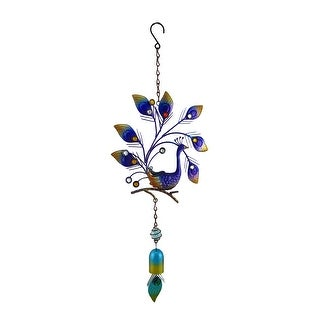 Colorful Purple/Blue Sparkling Peafowl Metal Windchime Wall Sculpture