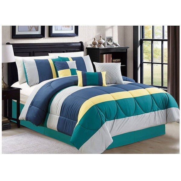 shop 7 pc queen king luxury comforter set green teal blue modern contemporary with shams free. Black Bedroom Furniture Sets. Home Design Ideas