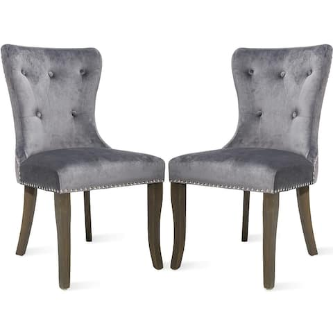 Button Tufts Wingback Dining Chairs (Set of 2)