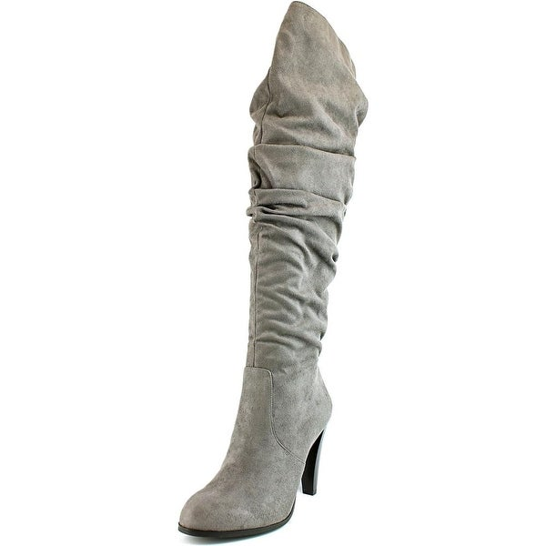Unity by Carlos Santana Delia Women Round Toe Canvas Gray Over the Knee Boot