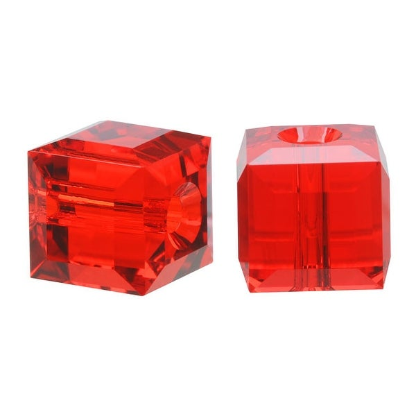 Swarovski Elements Crystal, 5601 Cube Beads 8mm, 4 Pieces, Light Siam Red