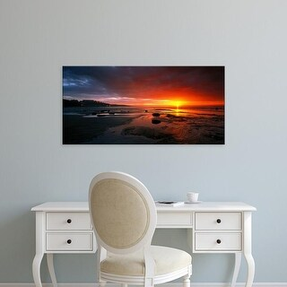 Easy Art Prints Panoramic Images's 'Sunset Saltburn N England' Premium Canvas Art