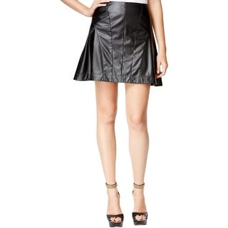 Guess Womens Flare Skirt Faux Leather Knee-Length